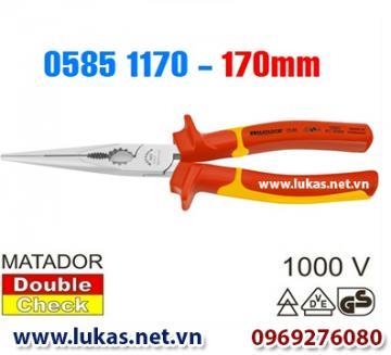 Kìm cách điện mũi nhọn (VDE), loại thẳng 170mm - 0585 1170 , Matador - Germany