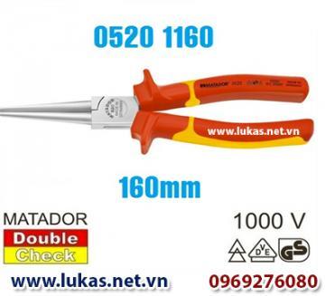 Kìm cách điện mũi dài đầu tròn (VDE) 160mm - 0520 1160, Matador - Germany