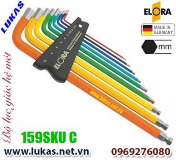 Bộ lục giác hệ mét 9 cây, đầu bi từ 1.5mm đến 10mm - ELORA 159SKUC