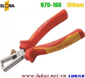 Kìm tuốt dây cách điện 160mm VDE 1000V, ELORA 970-160