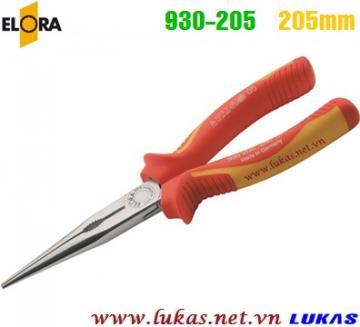 Kìm mũi nhọn cách điện 205mm VDE 1000V, ELORA 930-205